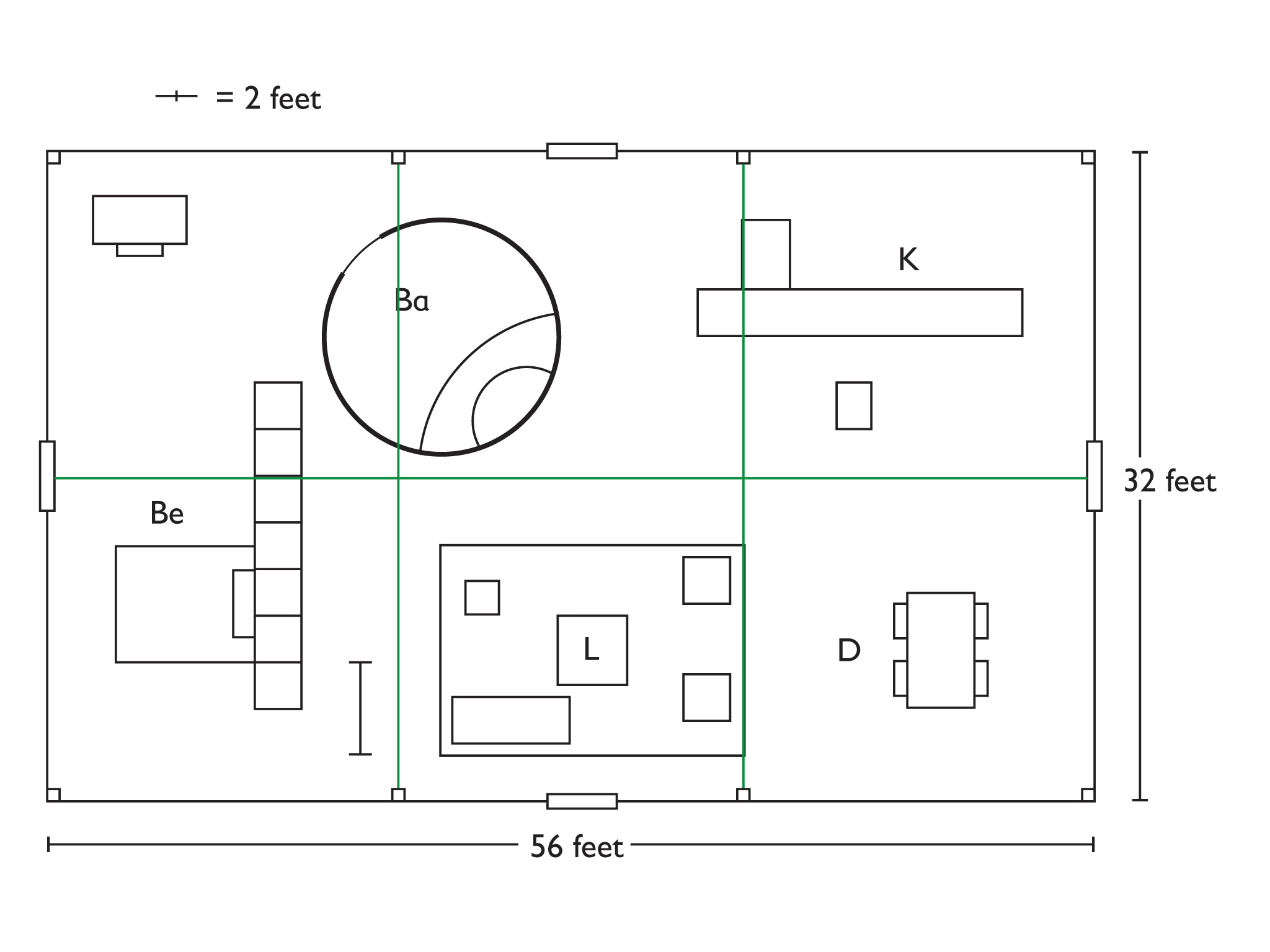 Drawing Floor Plans Double Glass Door