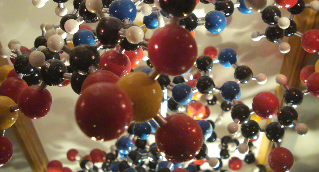 A molecular model shows hundreds of atoms, represented by yellow, red, black, blue and white balls, connected together by rods to form a molecule. The molecule has a complex but very specific three-dimensional structure with rings and branches.