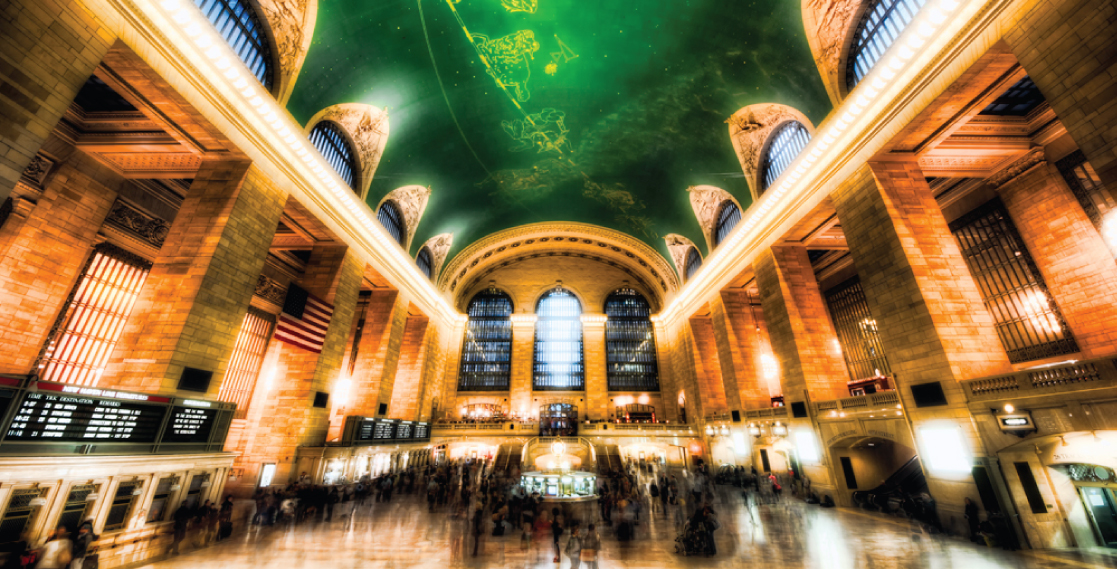 This photo shows the hustle and bustle of Grand Central Station.