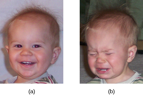 Photograph A shows a toddler laughing. Photograph B shows the same toddler crying.