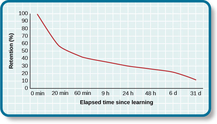 """A line graph has an x-axis labeled """"elapsed time since learning"""" with a scale listing these intervals: 0, 20, and 60 minutes; 9, 24, and 48 hours; and 6 and 31 days. The y-axis is labeled """"retention (%)"""" with a scale of zero to 100. The line reflects these approximate data points: 0 minutes is 100%, 20 minutes is 55%, 60 minutes is 40%, 9 hours is 37%, 24 hours is 30%, 48 hours is 25%, 6 days is 20%, and 31 days is 10%."""