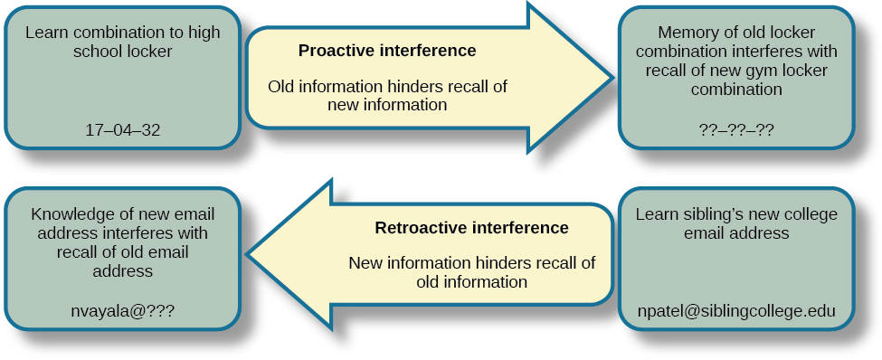"""A diagram shows two types of interference. A box with the text """"learn combination to high school locker, 17–04–32"""" is followed by an arrow pointing right toward a box labeled """"memory of old locker combination interferes with recall of new gym locker combination, ??–??–??""""; the arrow connecting the two boxes contains the text """"proactive interference (old information hinders recall of new information."""" Beneath that is a second part of the diagram. A box with the text """"knowledge of new email address interferes with recall of old email address, nvayala@???"""" is followed by an arrow pointing left toward the """"early event"""" box and away from another box labeled """"learn sibling's new college email address, npatel@siblingcollege.edu""""; the arrow connecting the two boxes contains the text """"retroactive interference (new information hinders recall of old information."""""""