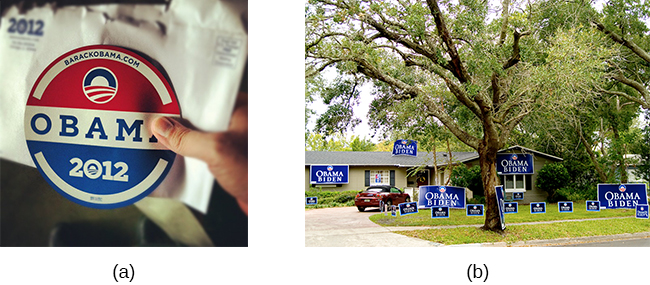 Photograph A shows a campaign button. Photograph B shows a yard filled with numerous signs.