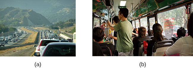 Photograph A shows heavy traffic going both ways on a scenic road. Photograph B shows a crowded bus with people sitting in the seats and standing in the aisles.