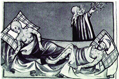 An illustration depicts two bedridden victims, a man and a woman, whose bodies are covered with the swellings characteristic of the Black Death. Another man walks by holding a handful of herbs or flowers.