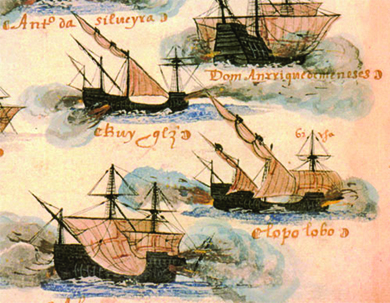 An illustration depicts several caravels of different styles and sizes.