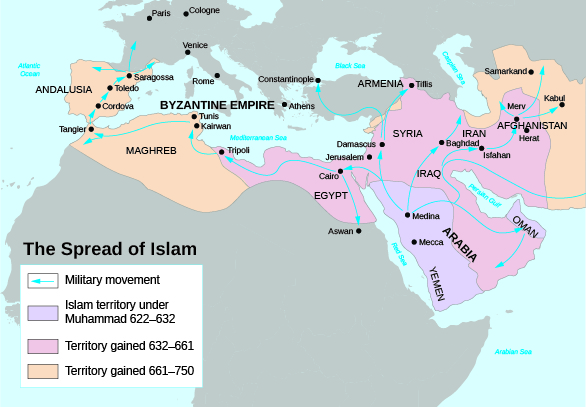 A map shows the spread of Islam, including Islamic territory under Muhammad from 622 to 632, which includes present-day Saudi Arabia and Yemen; territory gained from 632 to 661, which includes much of today's Middle East; and territory gained from 661 to 750, which includes present-day Spain and Portugal. Arrows show the movements of the conquering military.