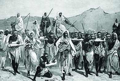 An illustration shows traders transporting a group of slaves, who are connected at the neck and bound at the wrists.