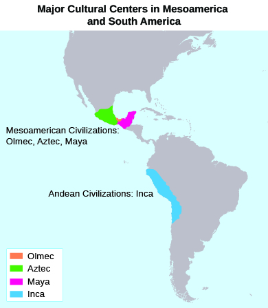 A map shows the locations of the Olmec, Aztec, Maya, and Inca civilizations, in, respectively, present-day Mexico; present-day Mexico; present-day Mexico (on the Yucatán Peninsula),Belize, Honduras, and Guatemala; and present-day Ecuador, Peru, and Bolivia.