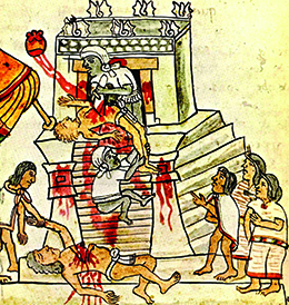An illustration shows an Aztec priest cutting the beating heart out of a sacrificial victim on the top of the steps of a temple. The heart rises from the victim's chest toward the sun. A previous victim is shown lying at the foot of the temple, surrounded by several onlookers.