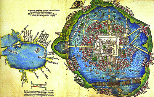 A map shows the city of Tenochtitlán. The rendering depicts waterways, sophisticated buildings, ships, and flags. Numerous causeways connect the central city to the surrounding land.