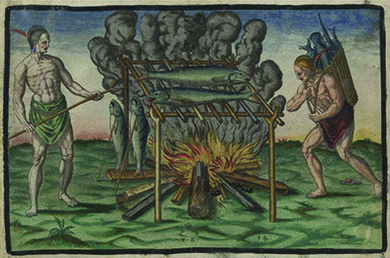 An engraving shows two natives of the New World cooking fish, which lie on a wooden rack built over a fire.
