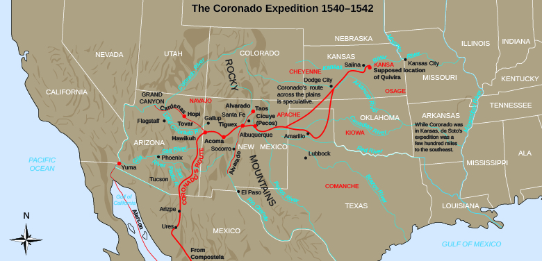 """A map shows Coronado's path through the American Southwest and the Great Plains. Notes indicate the """"supposed location of Quivira"""" as well as that """"Coronado's route across the plains is speculative"""" and """"While Coronado was in Kansas, de Soto's expedition was a few hundred miles to the southeast."""""""