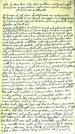 This is a transcription of the Mayflower Compact, written in longhand.