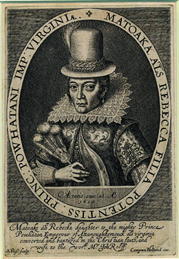 This is a 1616 portrait of Pocahontas depicting a young woman with Indian features in traditional European dress, including a tall hat and an Elizabethan ruff, and a regal pose.