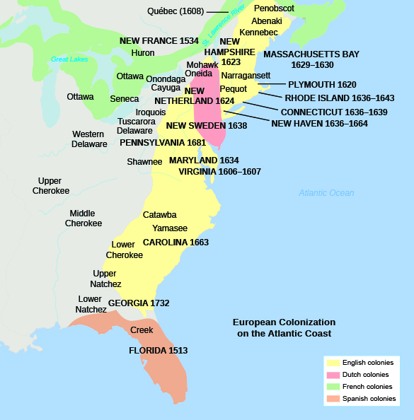 This is a map showing the English, Dutch, French, and Spanish colonies on the Atlantic coast and the dates of their settlement, as well as the names of Indian tribes inhabiting those areas.