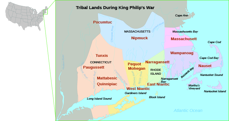 This is a map of New England indicating the domains of New England's native inhabitants, including the Pequot, Narragansett, Mohegan, and Wampanoag, in 1670.