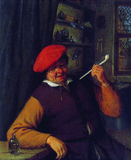 A 1646 Dutch painting depicts a man seated at a table smoking a long white clay pipe with evident enjoyment.