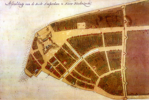 The Castello Plan shows New Amsterdam as a small settlement of buildings and fields divided by roads or paths. A fort can be seen near the tip of the peninsula. On the right side of the colony, a line with spikes indicates the wall that protects the colony to the northeast; its other three sides are protected by water.