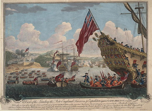 A painting shows British forces landing on the island of Cape Breton.