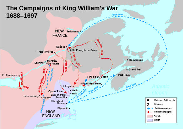 A map shows the campaigns of King William's War, as well as the French- and British-held areas, missions, forts, and settlements.