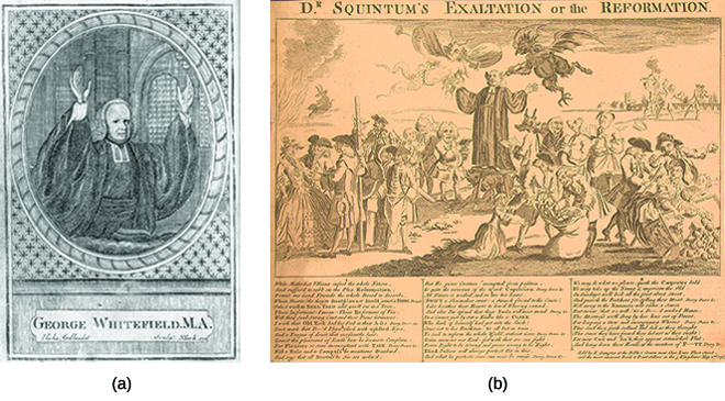 "Illustration (a) shows George Whitefield preaching, with his hands raised and a neutral facial expression. Cartoon (b) shows George Whitefield preaching, again with his hands raised, surrounded by men and women; he is flanked from above by an angel on one side, a devil on the other. In the surrounding crowd, groups of men seem to be lecturing or harassing people; for example, in the far right corner two men are overturning the table of a woman, perhaps a vendor of some sort. The title reads ""Dr. Squintum's Exaltation or the Reformation."""