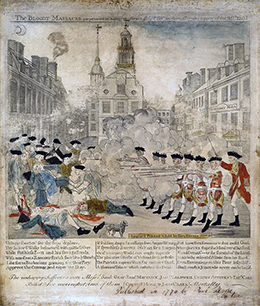 A line of British soldiers shoots into a crowd of colonists, all of whom are white and well-dressed. Some of the colonists attempt to flee; others help the injured or hold up their hands, asking the British for mercy; several lay bleeding and dying on the ground. In the foreground, a small dog stands beside two of the victims. The Boston State House and surrounding buildings are visible in the background.