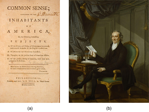 Image (a) shows the first page of Thomas Paine's Common Sense. A portrait of Thomas Paine is shown in image (b); he is seated at a writing desk and holding a piece of paper.