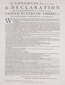 """One of the Dunlap Broadsides is shown. It is headed, """"In Congress, July 4, 1776, A Declaration By the Representatives of the United States of America, In General Congress Assembled."""""""