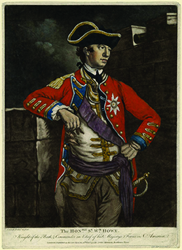A portrait of General William Howe is shown. He wears a red military coat, a tricorner hat, and a sword.