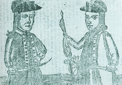A woodcut depicts Daniel Shays and Job Shattuck, both of whom wear the uniform of officers of the Continental Army. Both hold swords and one holds an American flag.