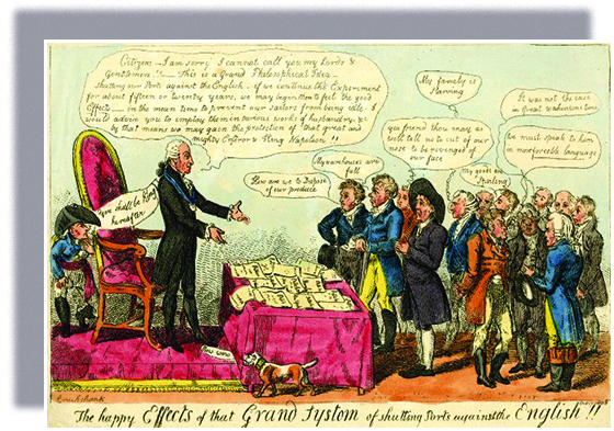 """A cartoon, titled """"The happy Effects of the Grand Systom [sic] of shutting Ports against the English!!,"""" shows Thomas Jefferson addressing four men. Eight others stand behind them. In front of Jefferson, a table is covered with papers reading, """"Pettition New York,"""" """"Pettition Maryland,"""" and more. With arms extended, Jefferson says, """"Citizens — I am sorry I cannot call you my Lords and Gentlemen!! — This is a Grand Philosophical Idea — shutting our Ports against the English — if we continue the Experiment for about fifteen or twenty years, we may begin then to feel the good 'Effects' — in the mean time to prevent our sailors from being idle. I would advise you to imploy them in various works of husbandry etc by that means we may gain the protection of that great and mighty Emperor and King Napoleon!!"""" Napoleon, who hides behind Jefferson's chair, says, """"You shall be King hereafter."""" A small dog, whose collar reads, """"John Bull,"""" says, """"Bow Wow."""" The men say, """"How are we to Dispose of our produce""""; """"My warehouses are full""""; """"Yea friend thou may as well tell us to cut of our nose to be revenged of our face""""; """"My famely [sic] is Starving""""; """"My Goods are Spoiling""""; """"It was not the case in Great Washintons [sic] time""""; """"We must speak to him in more forceble [sic] language."""""""
