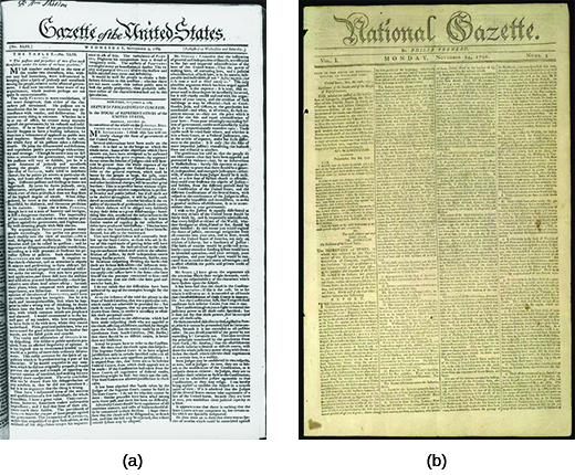 Image (a) shows the front page of the Gazette of the United States. Image (b) shows the front page of the National Gazette.