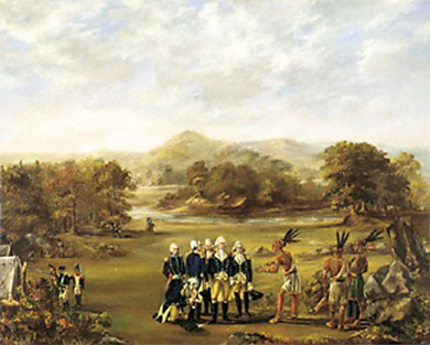 A painting depicts a small group of uniformed Americans negotiating with several Indians in native dress. The Indian who speaks to the Americans bends slightly and gestures with his hands, with his compatriots standing behind him; the Americans, who stand straight-backed in a tight, impenetrable group, appear unmoved.