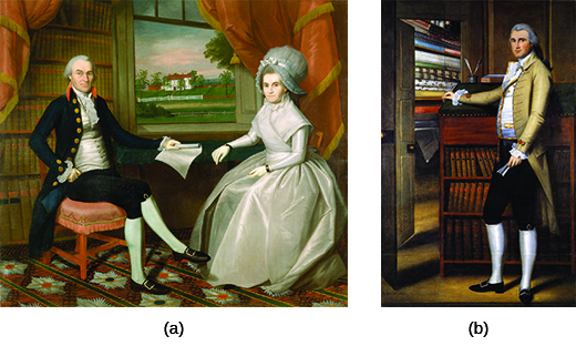 Painting (a) is a portrait of Oliver and Abigail Wolcott Ellsworth, who sit in an opulent library with a bucolic scene visible from the window. Painting (b) is a portrait of Elijah Boardman, who poses beside a desk with book-filled shelves that include the works of Moore, Shakespeare, and Milton. Beside him, an open closet displays many neatly arranged bolts of fabric.