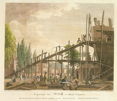 A print shows a group of workers assembling a large wooden ship. Men shape boards on the ground and walk up scaffolding that surrounds the ship, which towers several stories above the ground.