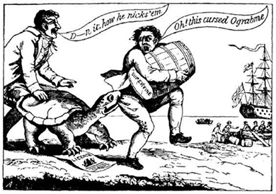 "A cartoon shows a snapping turtle, who holds a shipping license, biting a smuggler in the act of sneaking a barrel of sugar to a British ship. The smuggler cries, ""Oh, this cursed Ograbme!"" His companion cries ""D—n it. how he nicks 'em!"""