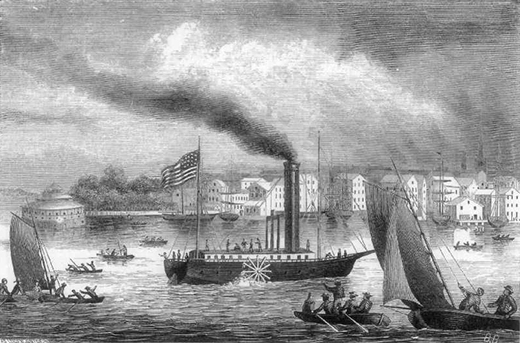 An engraving depicts a steamboat sailing down a river past a city, surrounded by smaller vessels.