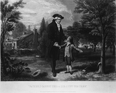 A painting depicts George Washington as a child, pointing out to his father a cherry tree with damaged bark. A hatchet lies on the ground. Washington's father smiles and places his hand on Washington's shoulder.