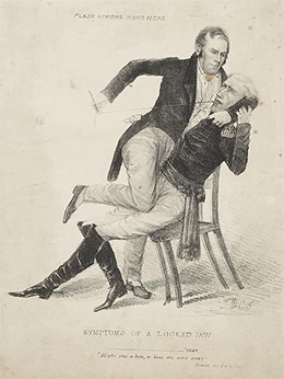 "A political cartoon, titled ""Symptoms of a Locked Jaw,"" shows Henry Clay holding down a seated Andrew Jackson and sewing up his mouth while a paper with ""Cure for calumny"" written on it protrudes from his pocket. ""Plain sewing done here"" is written at the top of the cartoon."