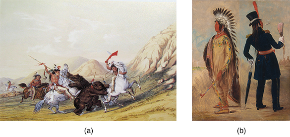 Painting (a) depicts a group of mounted Indians on a grizzly bear hunt. Painting (b) shows an Indian chief in two modes of dress: he is clothed in the native fashion, including a feathered headdress, on the left, and wearing a fully western outfit, including top hat, on the right.