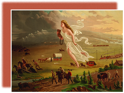 A painting shows a white woman in flowing white robes flying westward, high over the American frontier. Where she has been, the scenery is bright; where she has yet to go, it remains dim. She hangs telegraph wire with one hand and holds a book in the other. Beneath her, farmers and other pioneers travel on foot and by covered wagon; trains and ships are visible in the distance. To the extreme west of the image, Indians and buffalo flee, driven further and further by the onslaught.