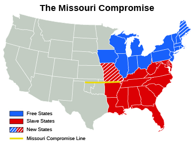 A map of the Missouri Compromise indicates free states, slave states, new states, and the Missouri Compromise line.