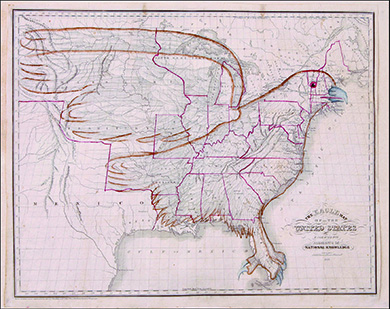 A historical map of the United States is drawn to show a massive eagle encompassing the whole of the nation.