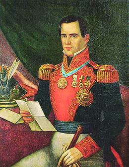 A portrait of General Antonio Lopez de Santa Anna is shown.