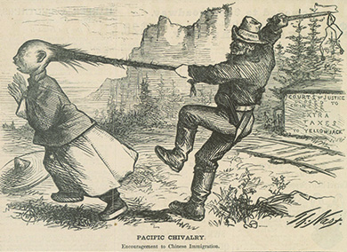 "An illustration captioned ""Pacific Chivalry. Encouragement to Chinese Immigration"" depicts a white man, whose hat is labeled ""California,"" preparing to whip a Chinese man; he holds the man by his queue as the man attempts to flee, his characteristic hat having fallen beside him. Beside the railroad tracks running past the pair, a sign reads ""Courts of Justice Closed to Chinese. Extra Taxes to 'Yellow Jack.'"" The Pacific landscape is visible in the background."