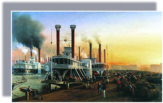 A painting depicts several large steamboats docked at New Orleans. Businessmen chat while slaves and dock workers load and unload large barrels of cargo.