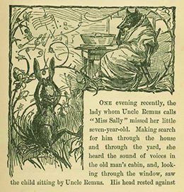 An illustration from Uncle Remus, His Songs and His Sayings: The Folk-Lore of the Old Plantation depicts the characters Brer Rabbit, who is playing in the woods, and Brer Wolf, who is seated at a table.