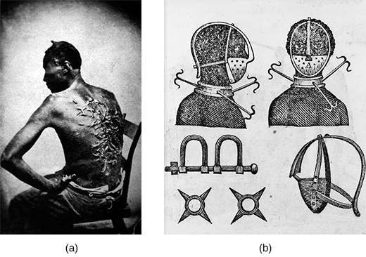 Photograph (a) shows a seated slave's bare back, which is completely covered by raised scars. Drawing (b) depicts an iron mask, collar, leg shackles, and spurs; front and side views of a slave wearing the collar and mask are shown.