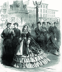 A drawing shows an elaborately dressed young woman walking through a town, averting her gaze from the groups of nearby men who watch and whisper about her.